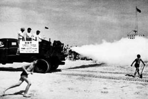 DDT truck spraying at the beach