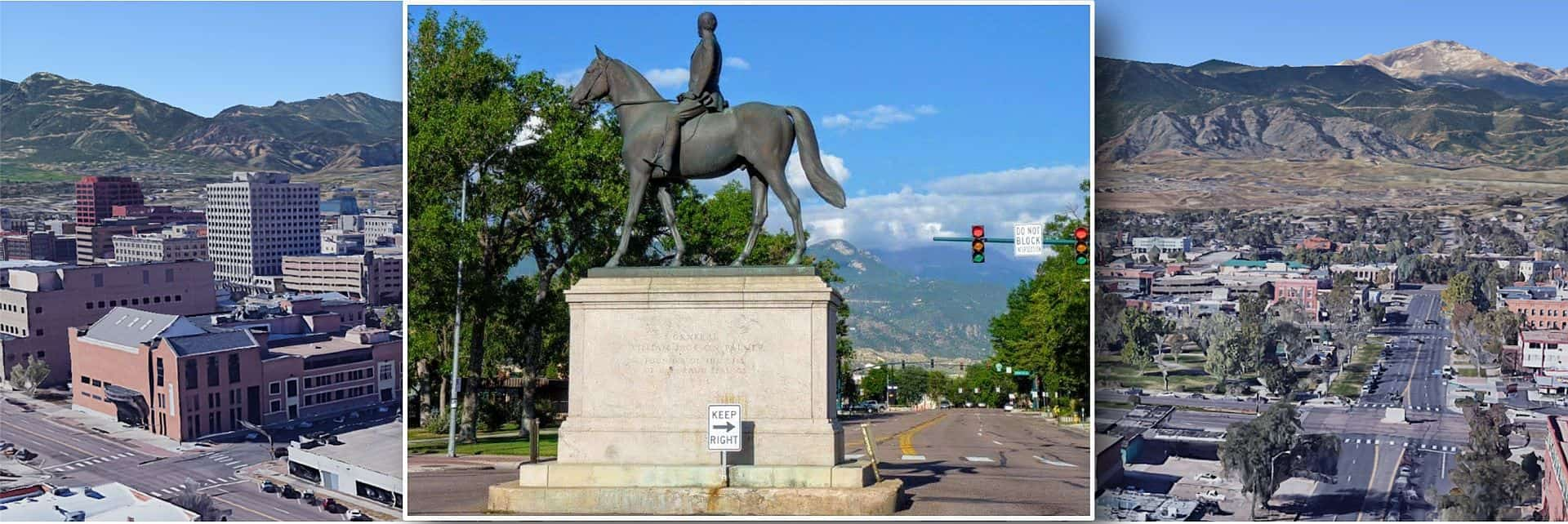 Street view of General Palmer statue with mountains in background