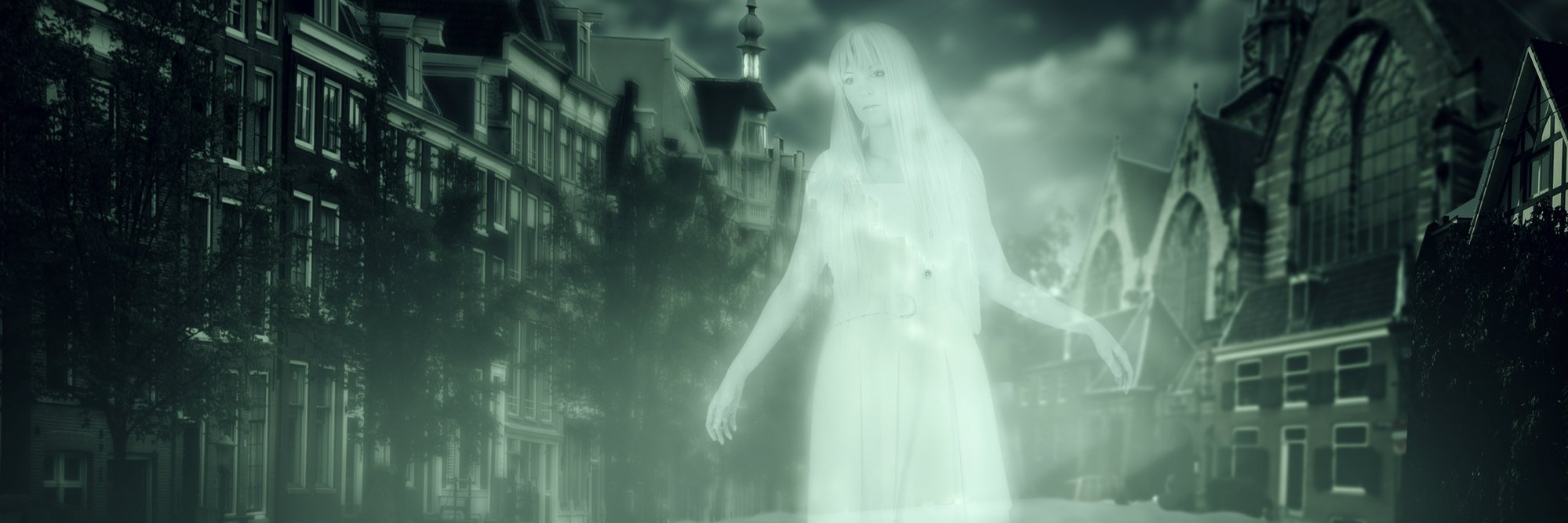 white ghost of a woman walking down the street of the old town