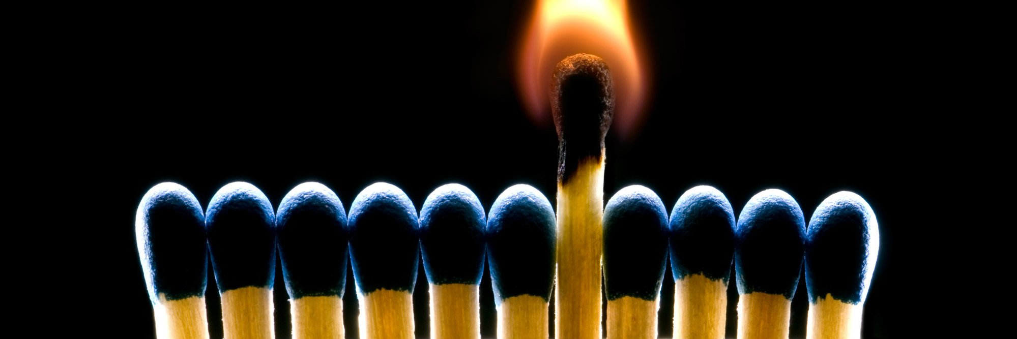 Many dark blue matches on a black background (one match burns).