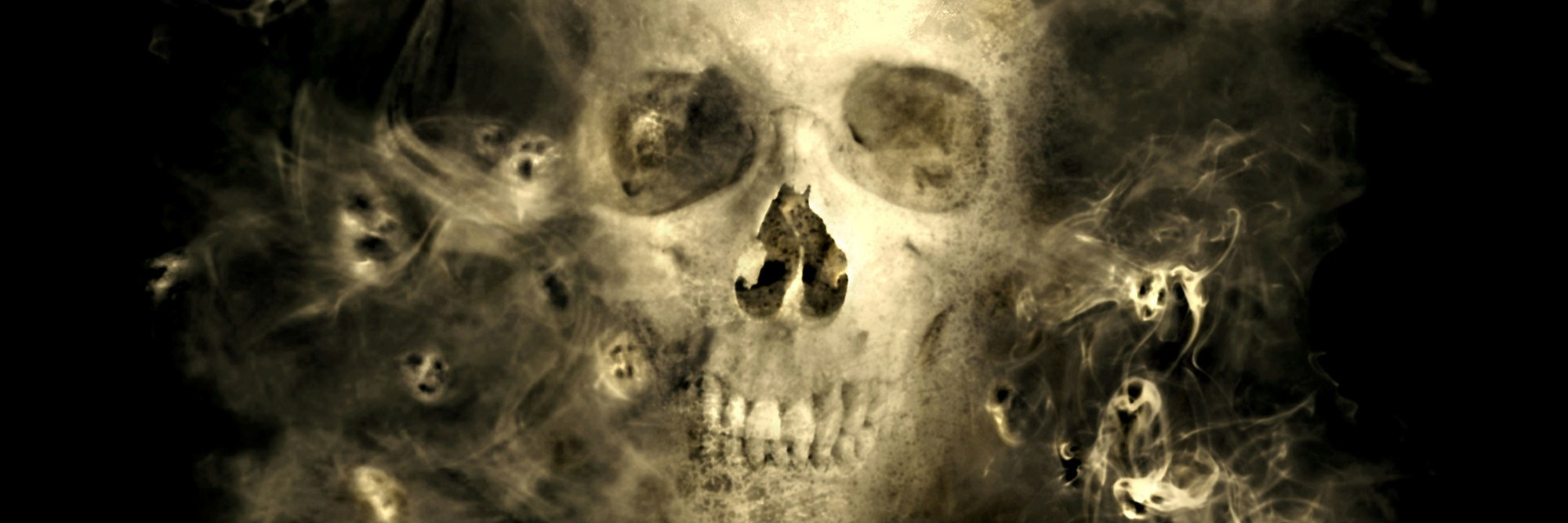 eerie skull with smoky demons