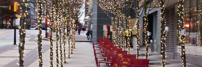 trees downtown decorated for christmas