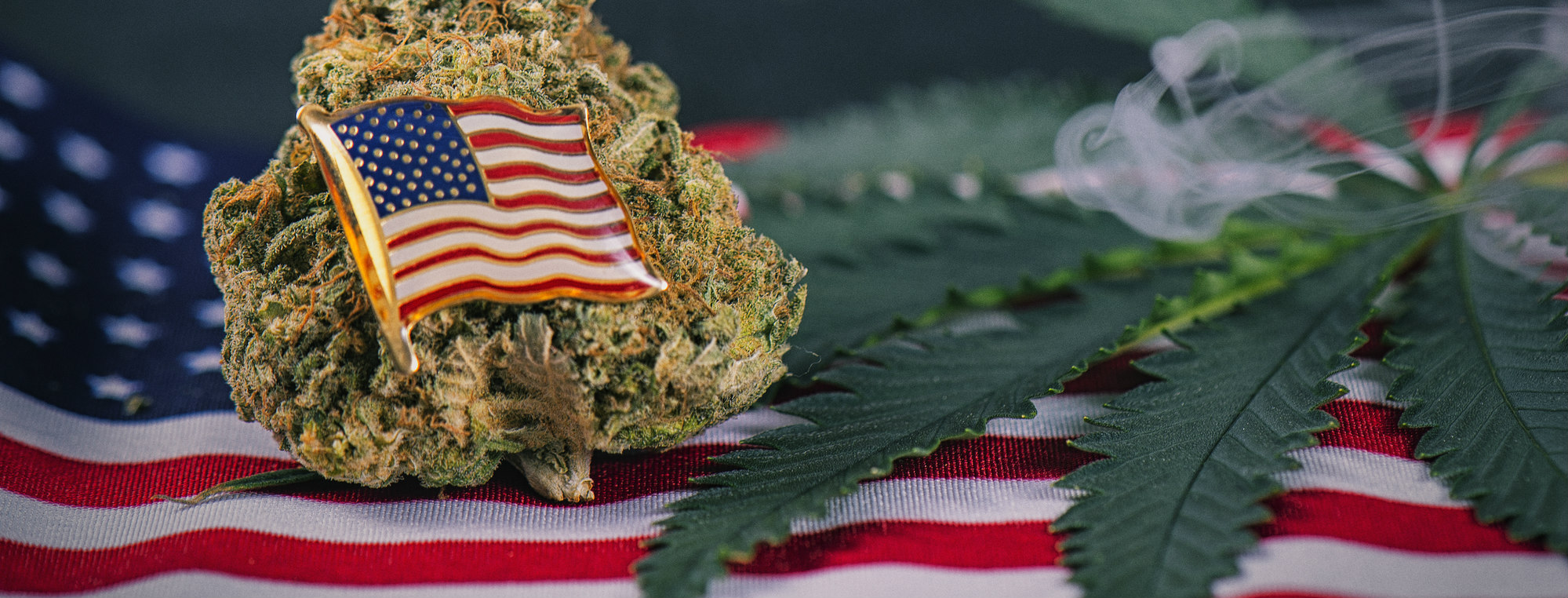 Cannabis bud, leaf and american flag with smoke - veteran theme medical marijuana concept