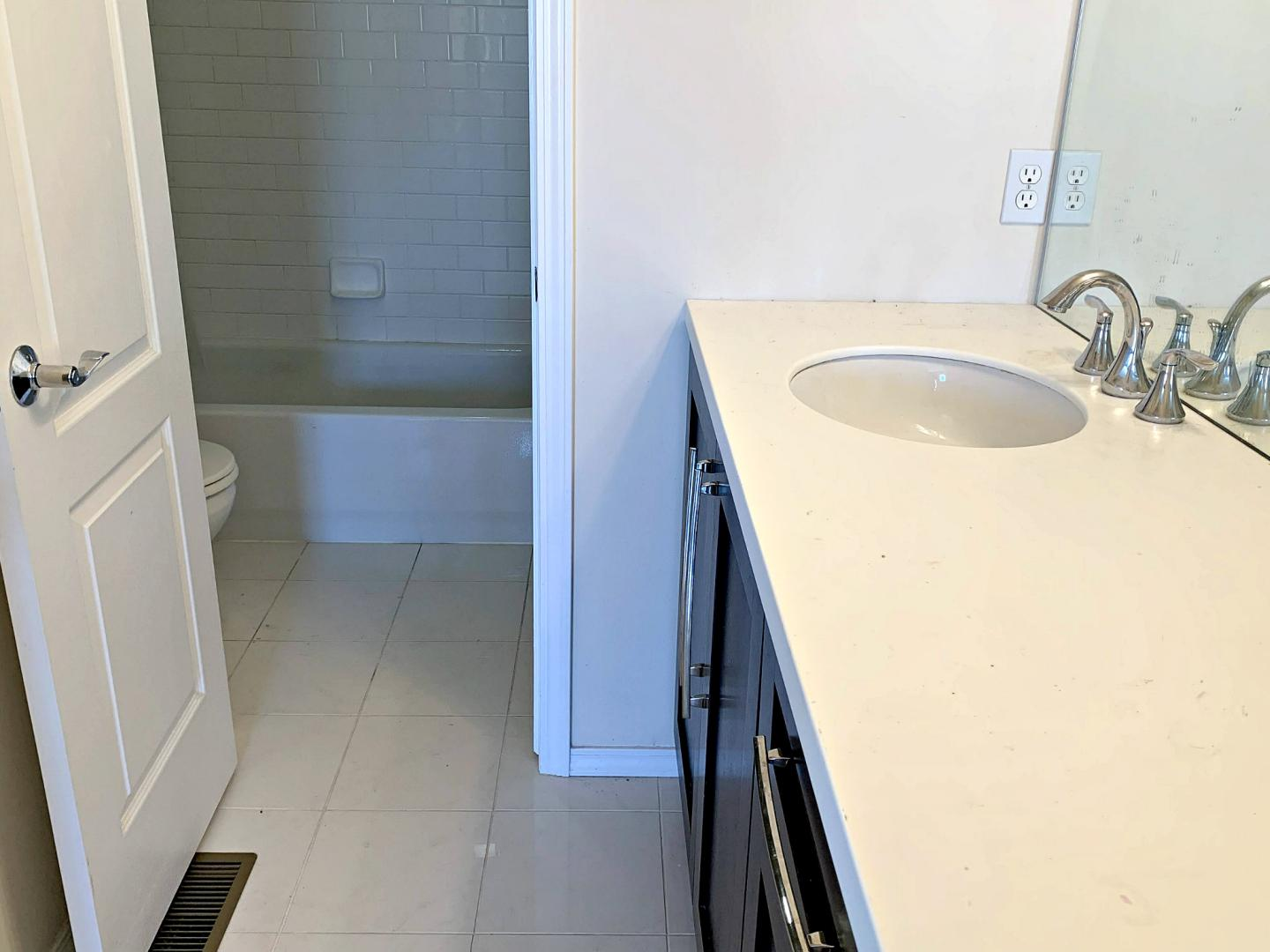 Upper level bath with separate water closet and bath
