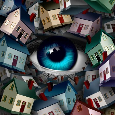 an eye looking at a lot of houses