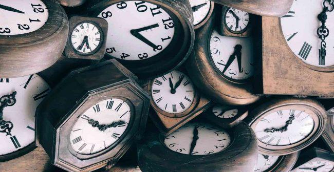 a bund of clocks