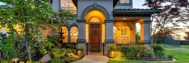 beautiful lit house