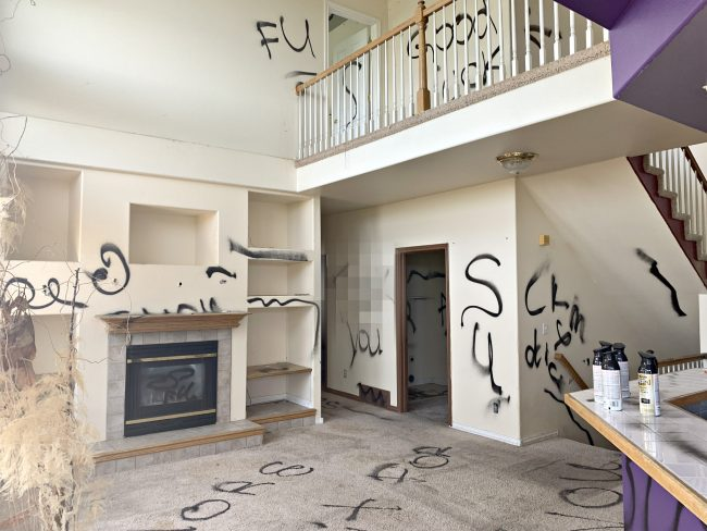 spray painted walls in house from hell