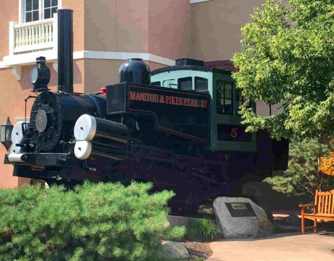Engine #5 of the Pikes Peak Cog Railway now housed permanently at The Broadmoor Hotel in Colorado Springs