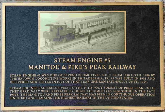 Plaque of Engine #5 of the Pikes Peak Cog Railway currently at The Broadmoor Hotel